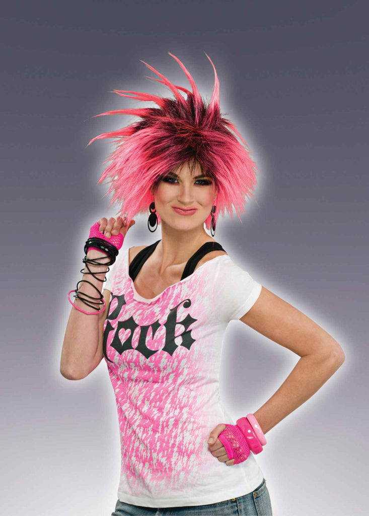 Pink Punkster Eighties Costume Wig