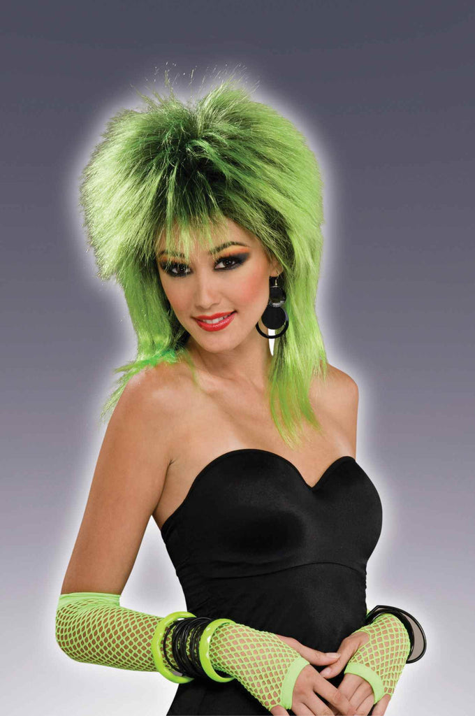Green Eighties Gal Halloween Wigs - HalloweenCostumes4U.com - Accessories