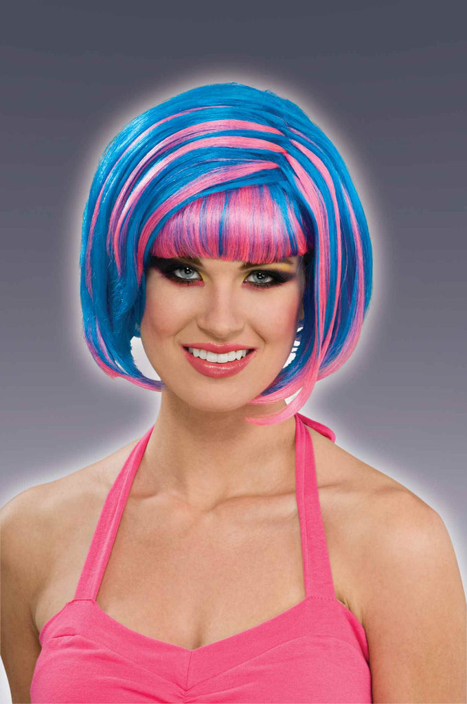 Halloween Wigs Blue/Pink Bob Wig - HalloweenCostumes4U.com - Accessories
