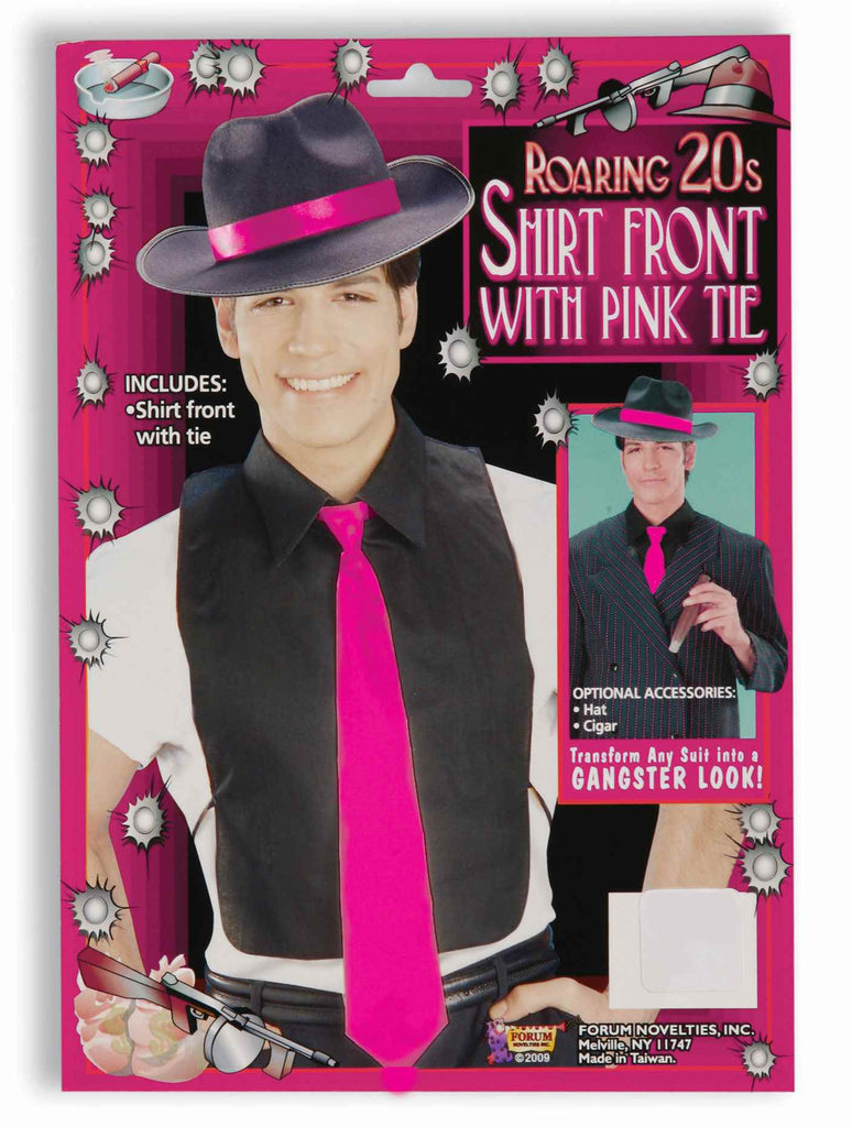 Gangster Shirt Front with Hot Pink Tie - HalloweenCostumes4U.com - Adult Costumes