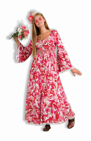 Pink Hippie Woman Halloween Costume - HalloweenCostumes4U.com - Adult Costumes