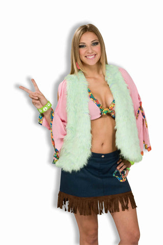 Hippie Costume Vest Furry Green - HalloweenCostumes4U.com - Adult Costumes