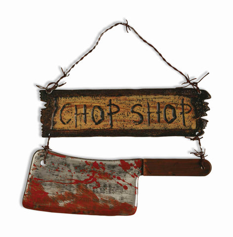 Halloween Horror Sign Chop Shop w/Cleaver - HalloweenCostumes4U.com - Decorations