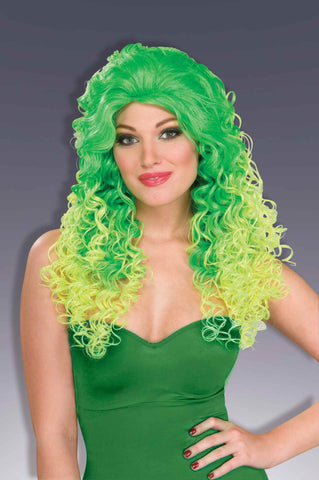 Green Halloween Wig Curly Green - HalloweenCostumes4U.com - Accessories