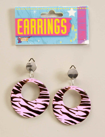 Costume Pink Zebra Stripe Hoop Earrings - HalloweenCostumes4U.com - Accessories