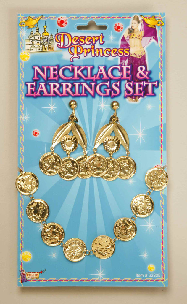 Gold Coin Necklace & Earrings - HalloweenCostumes4U.com - Accessories