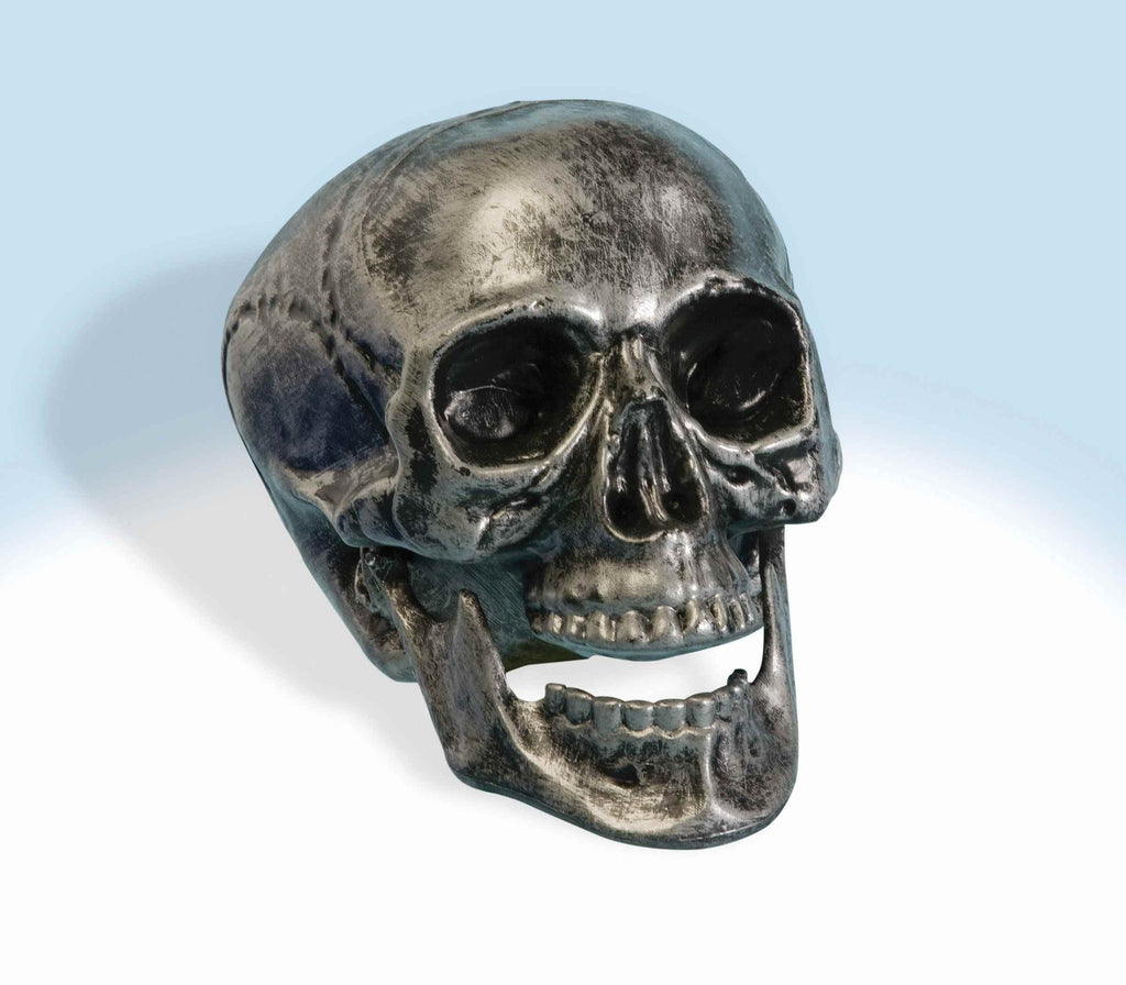 Haunted House Prop Skull Metallic Skull - HalloweenCostumes4U.com - Decorations