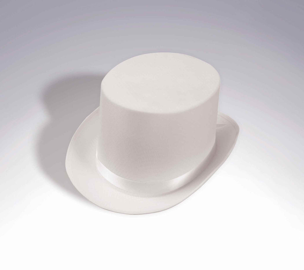 Costume Top Hats Deluxe Satin Top Hat White