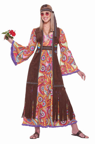 Deluxe Hippie Woman Halloween Costume - HalloweenCostumes4U.com - Adult Costumes