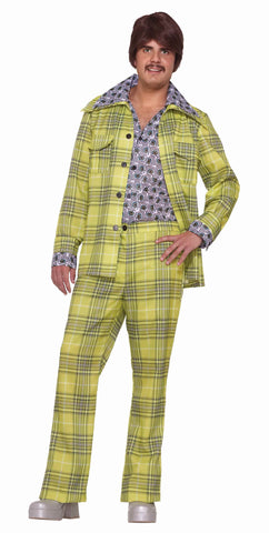 Halloween Leisure Suit Plaid 70's Disco Costume