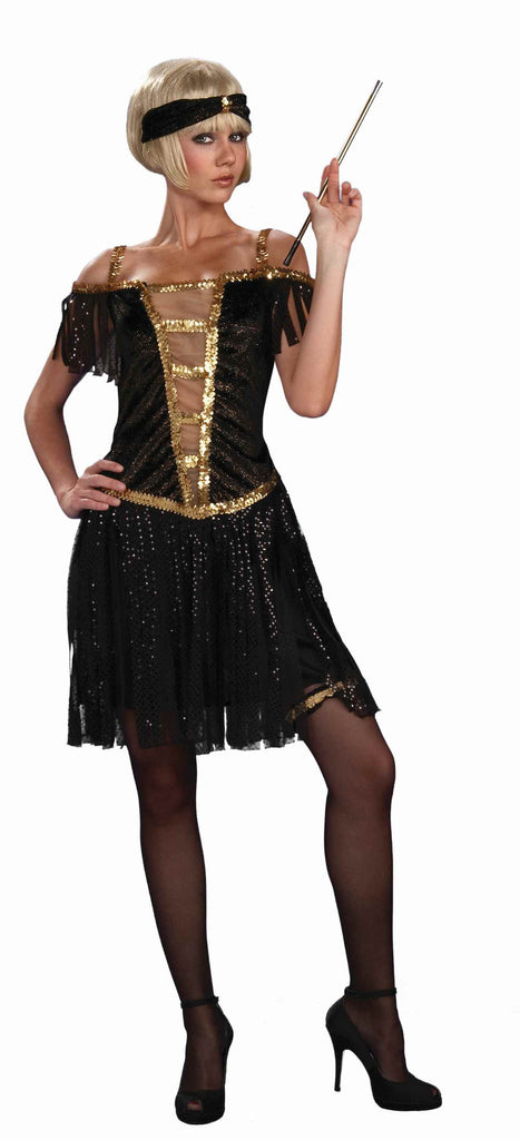 Flapper Costumes Gold Fringe Flapper - HalloweenCostumes4U.com - Adult Costumes