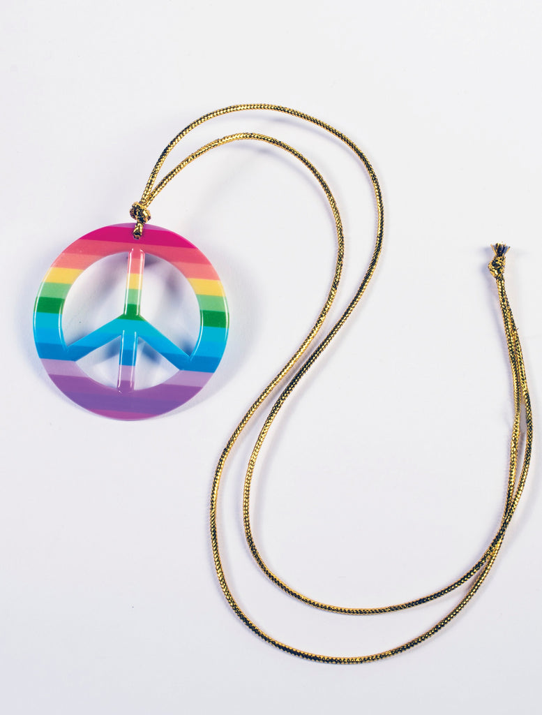 Hippie Costume Rainbow Peace Medallion - HalloweenCostumes4U.com - Accessories