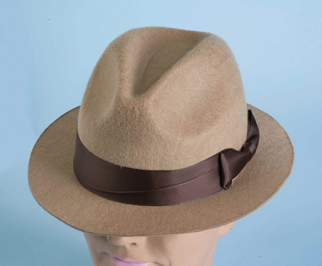 Halloween Hats Tan Gangster Fedora