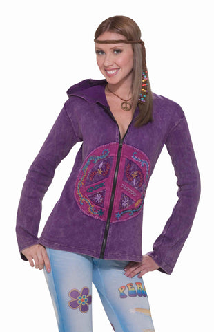 Costume Hoodies Purple Peace Sign Hoodie - HalloweenCostumes4U.com - Adult Costumes