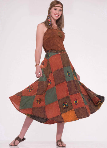 Halloween Hippie Lady Patch Skirts - HalloweenCostumes4U.com - Adult Costumes