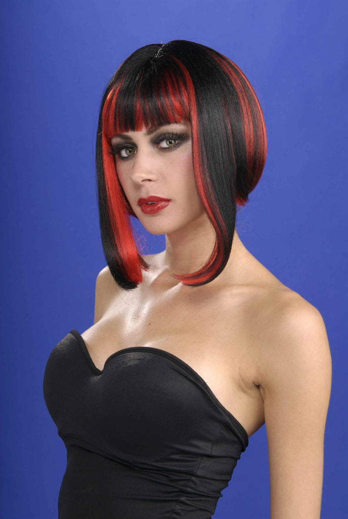 Sexy Vixen Bob Wigs Black and Red - HalloweenCostumes4U.com - Accessories