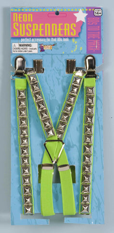 80's Green Studded Suspenders - HalloweenCostumes4U.com - Accessories
