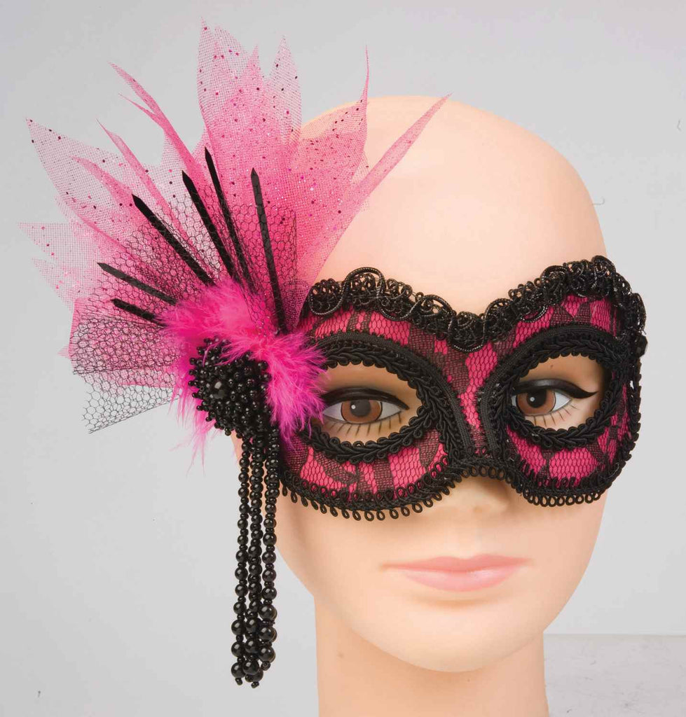 Halloween Eyemasks Neon Lace Mask Pink or Green - HalloweenCostumes4U.com - Accessories