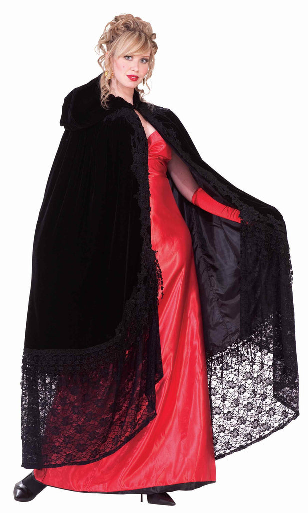 Halloween Capes Velvet and Lace Cape Black - HalloweenCostumes4U.com - Accessories
