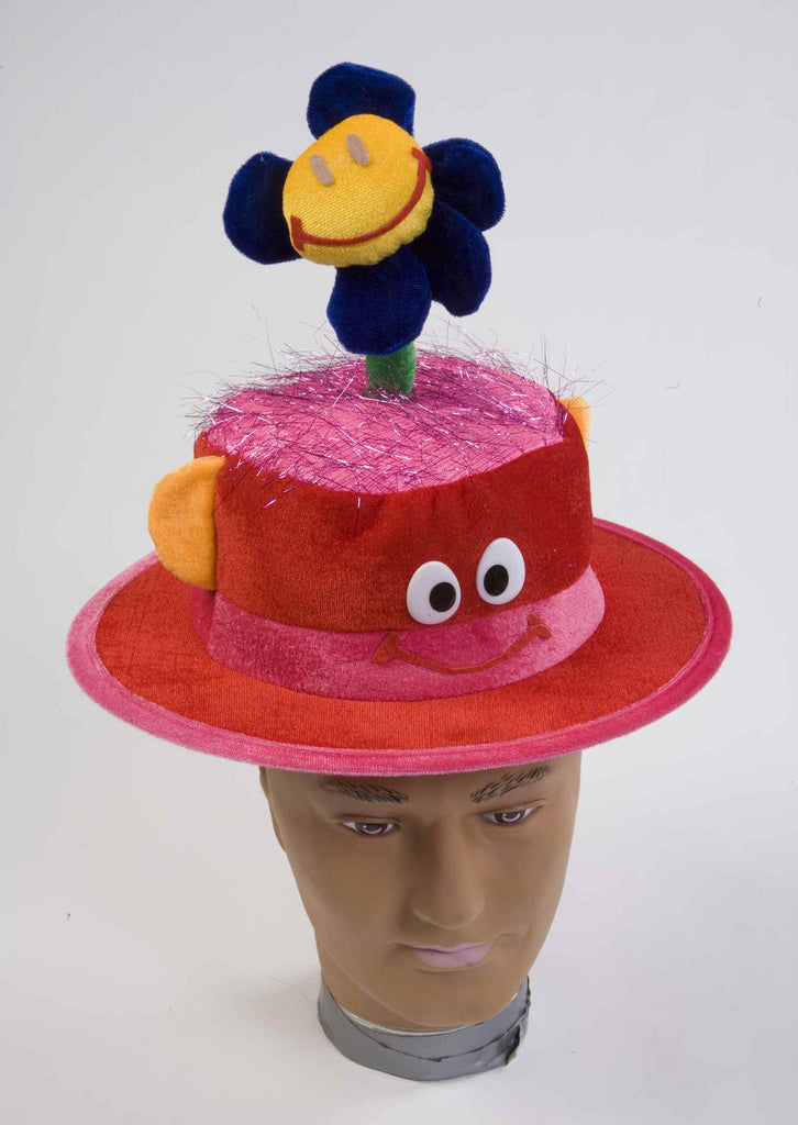 Happy Clown Costume Hat with Flower - HalloweenCostumes4U.com - Accessories