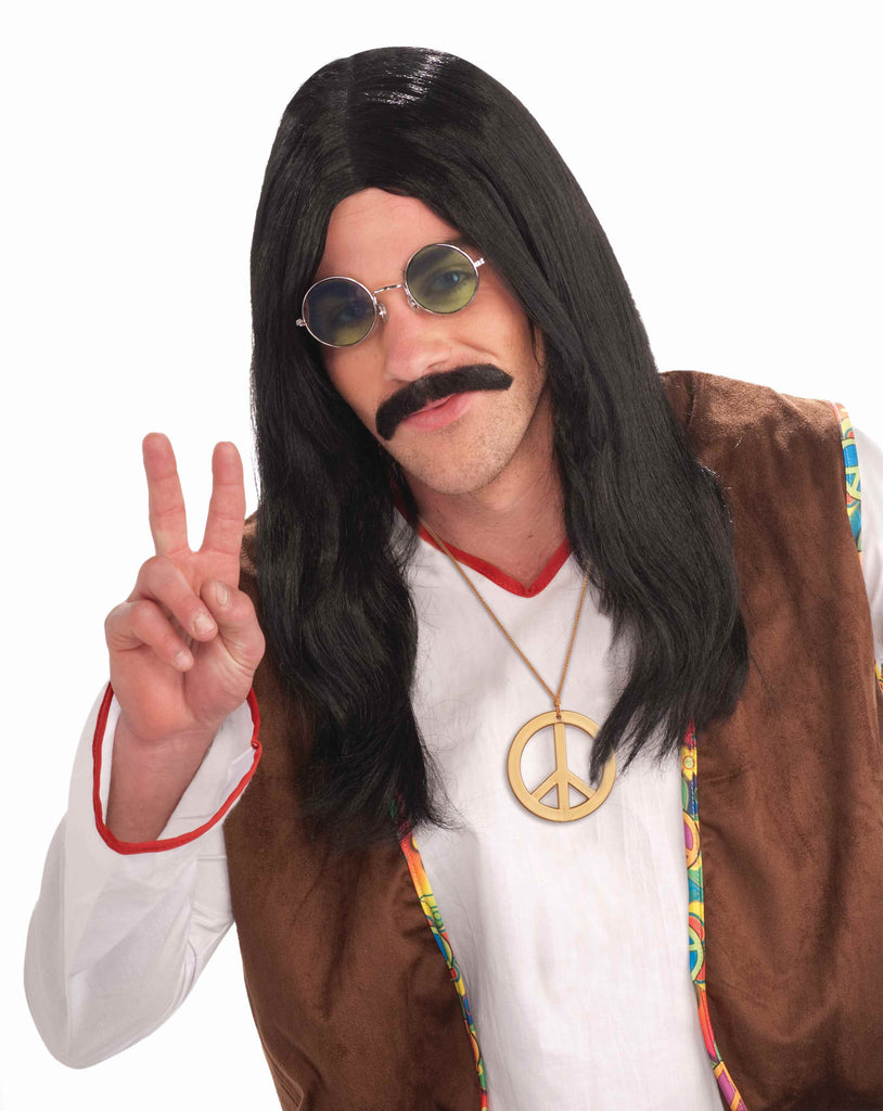 Hippie Dude Wigs Black Hippie Man - HalloweenCostumes4U.com - Accessories