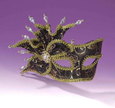 Deluxe Women's Masquerade Masks Black/Gold - HalloweenCostumes4U.com - Accessories