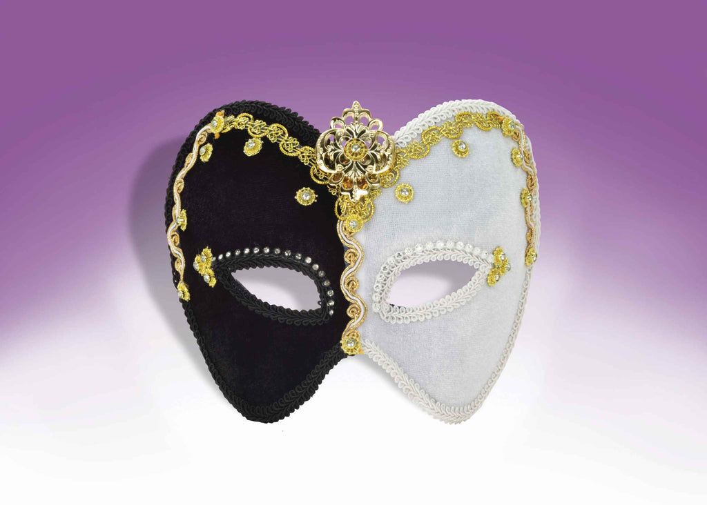Fancy Mardi Gras Masks Gold/Black/White - HalloweenCostumes4U.com - Holidays