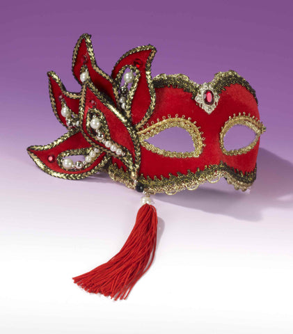 Deluxe Venetian Eye Masks Red/Gold - HalloweenCostumes4U.com - Accessories
