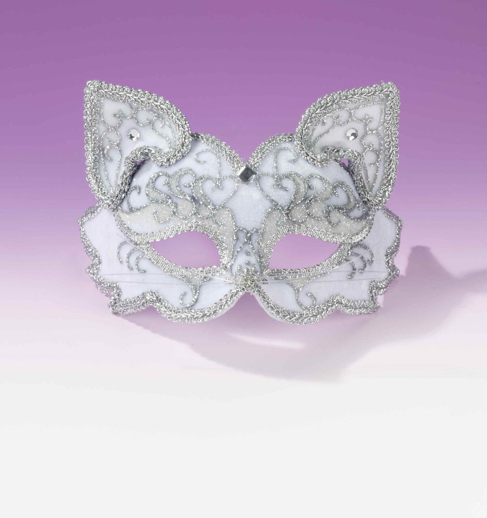 Fancy Mardi Gras Cat Eyemasks White/Silver - HalloweenCostumes4U.com - Holidays