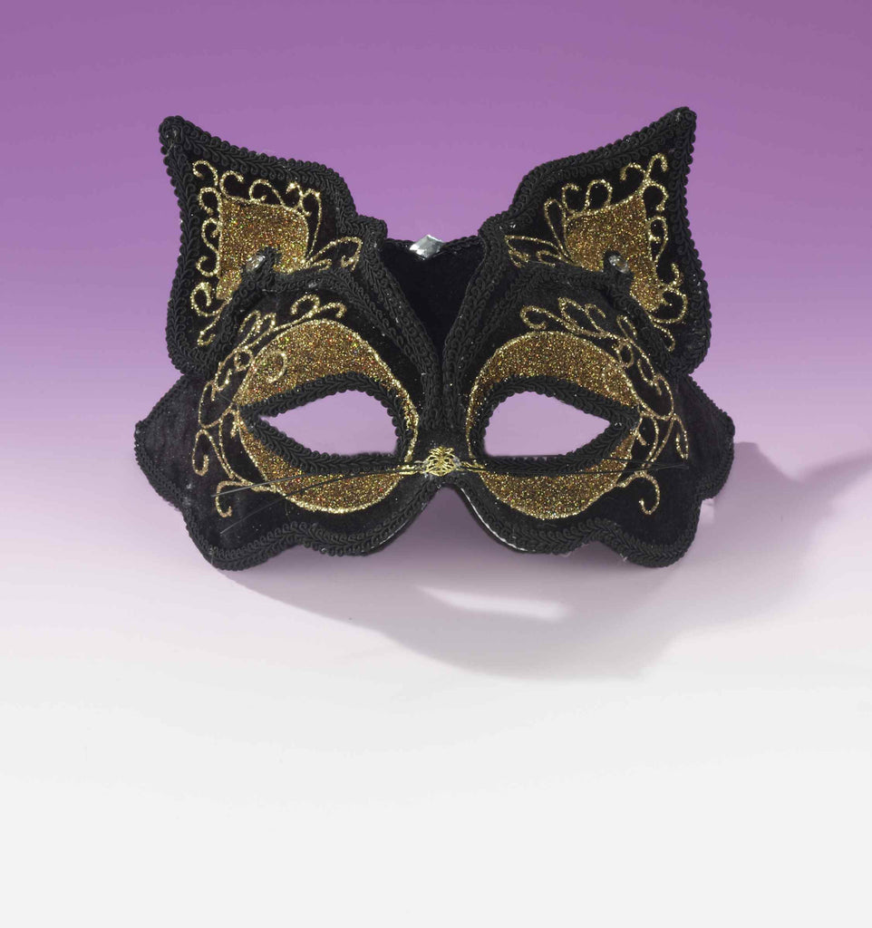 Fancy Mardi Gras Cat Eyemask Black/Gold