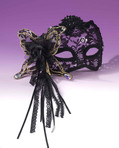 Black Lace Venetian Mask - HalloweenCostumes4U.com - Accessories