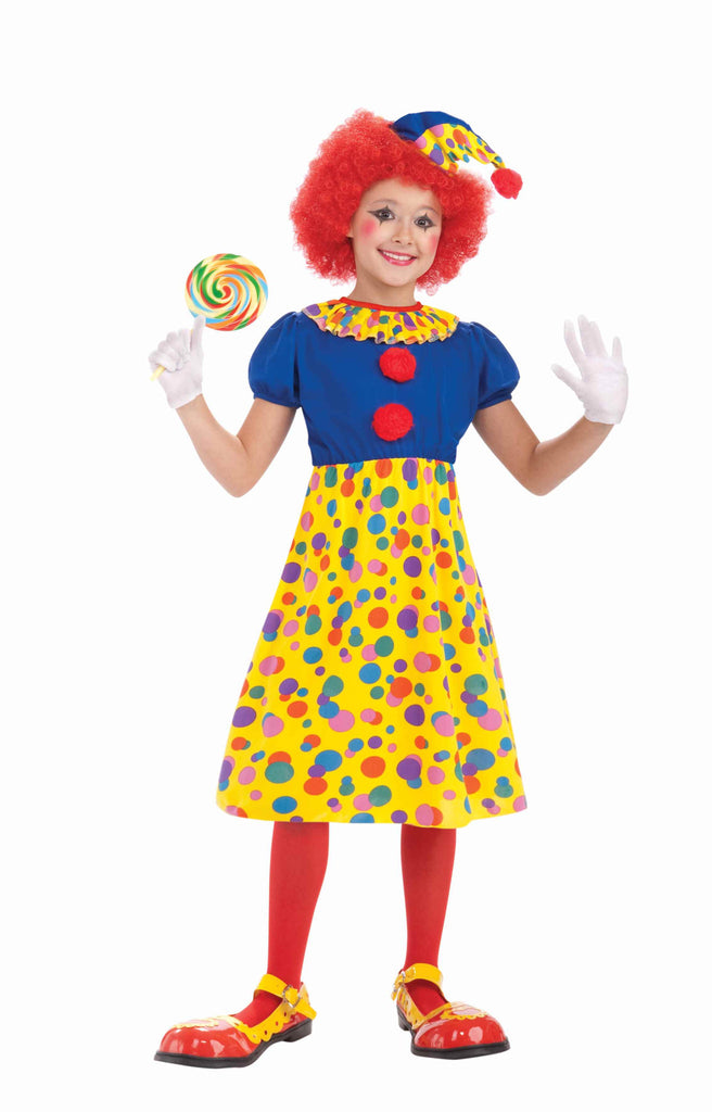 Girls Rainbow Clown Costume - HalloweenCostumes4U.com - Kids Costumes