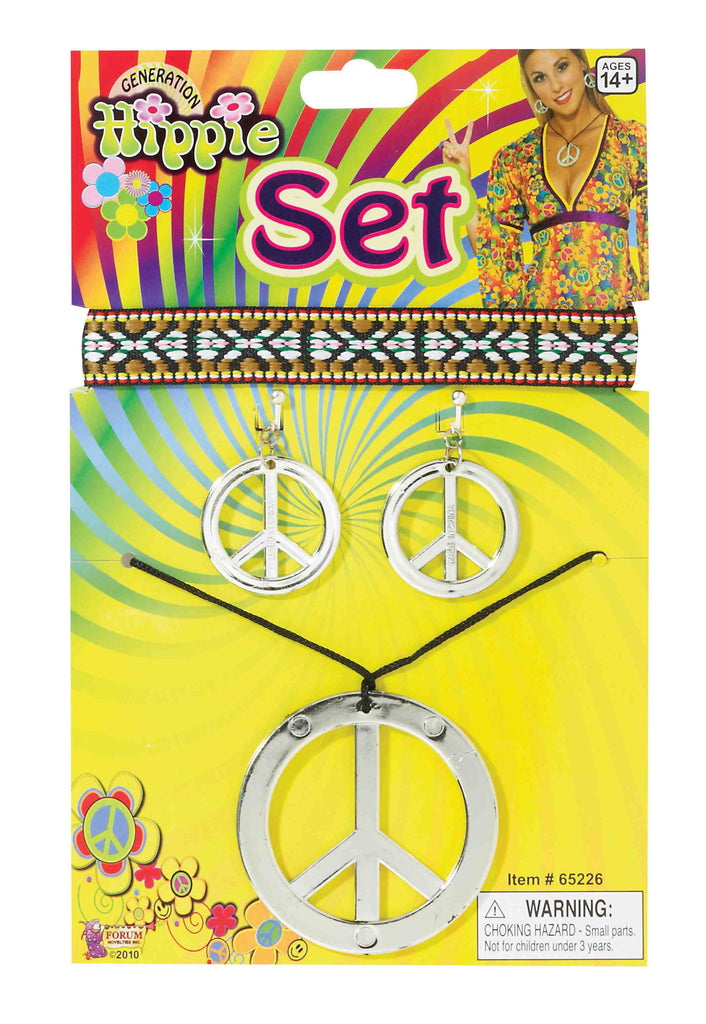 Hippie Peace Sign Jewelry and Headband Set
