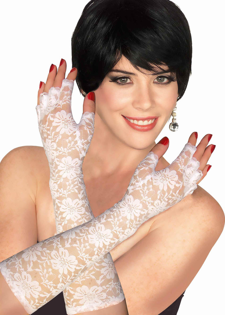 Costume Gloves White Lace Gloves - HalloweenCostumes4U.com - Accessories