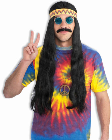 Hippie Dude Wig Long Black w/Headband - HalloweenCostumes4U.com - Accessories