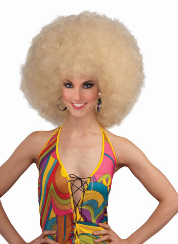 Halloween Afro Wig Mega Afro Blonde - HalloweenCostumes4U.com - Accessories