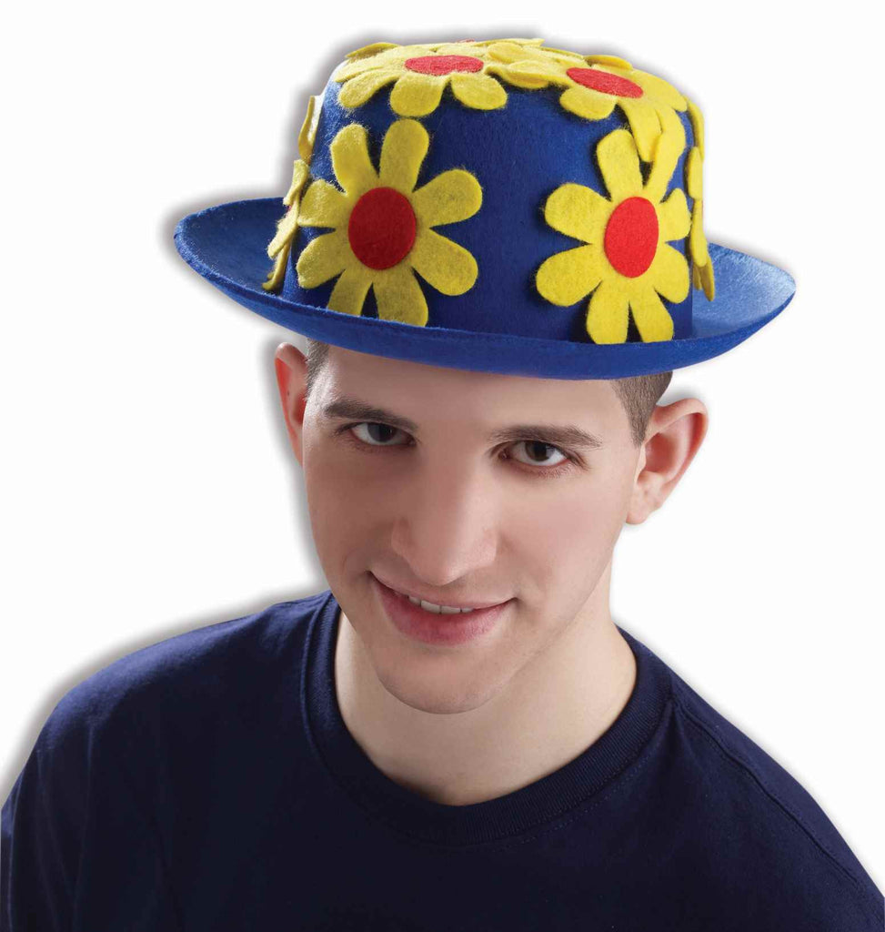 Flower Covered Costume Clown Hat Blue