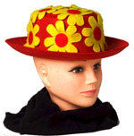 Flower Covered Costume Clown Hat Red
