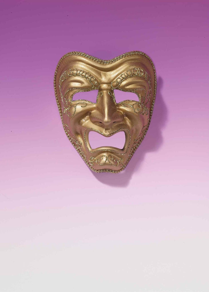 Gold Mardi Gras Tragedy Face Masks