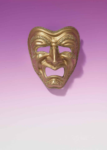 Gold Mardi Gras Tragedy Face Masks - HalloweenCostumes4U.com - Holidays