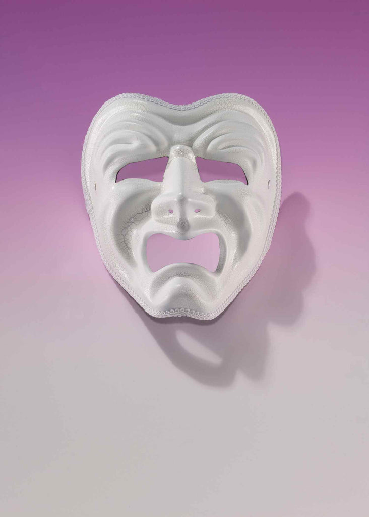 Mardi Gras Tragedy Face Mask White - HalloweenCostumes4U.com - Holidays