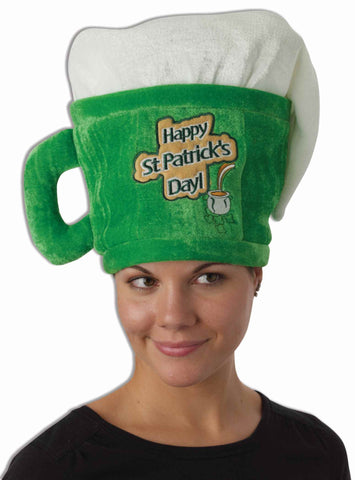 Happy St Patty's Day Giant Beer Mug Hat - HalloweenCostumes4U.com - Holidays