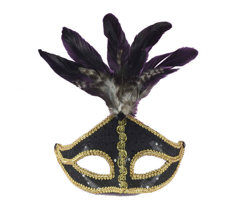 Black & Gold Venetian Mask With Feathers