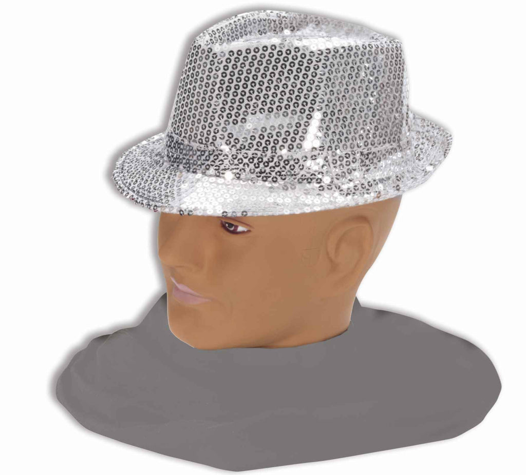 Sequin Halloween Hat Silver Sequin Fedora