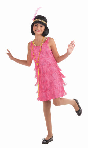 Girls Pink Flapper Costume - HalloweenCostumes4U.com - Kids Costumes