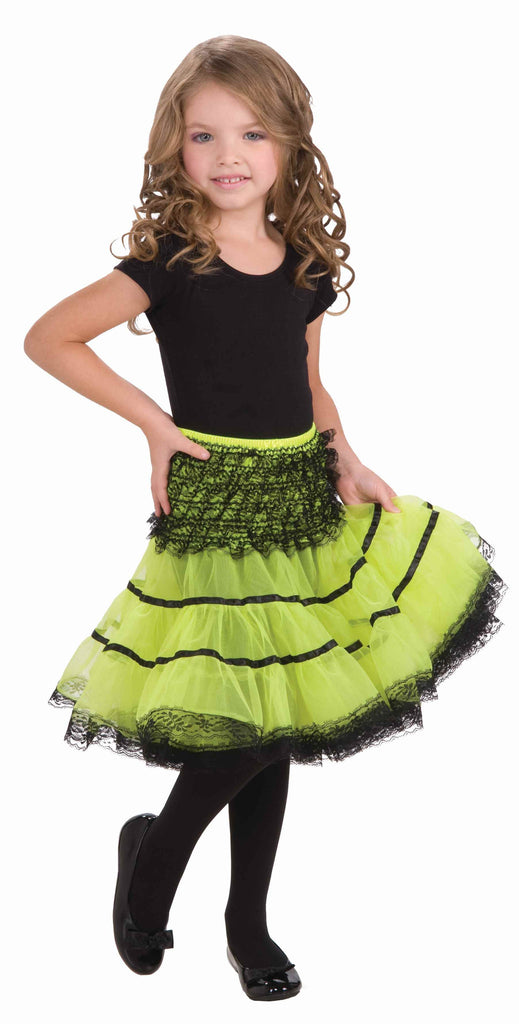 Kid's Crinoline Slip Neon Green - HalloweenCostumes4U.com - Accessories
