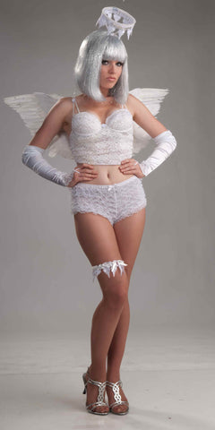 Women's Angel White Lace Booty Shorts - HalloweenCostumes4U.com - Adult Costumes