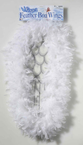 Feather Boa Angel Costume Wings - HalloweenCostumes4U.com - Accessories