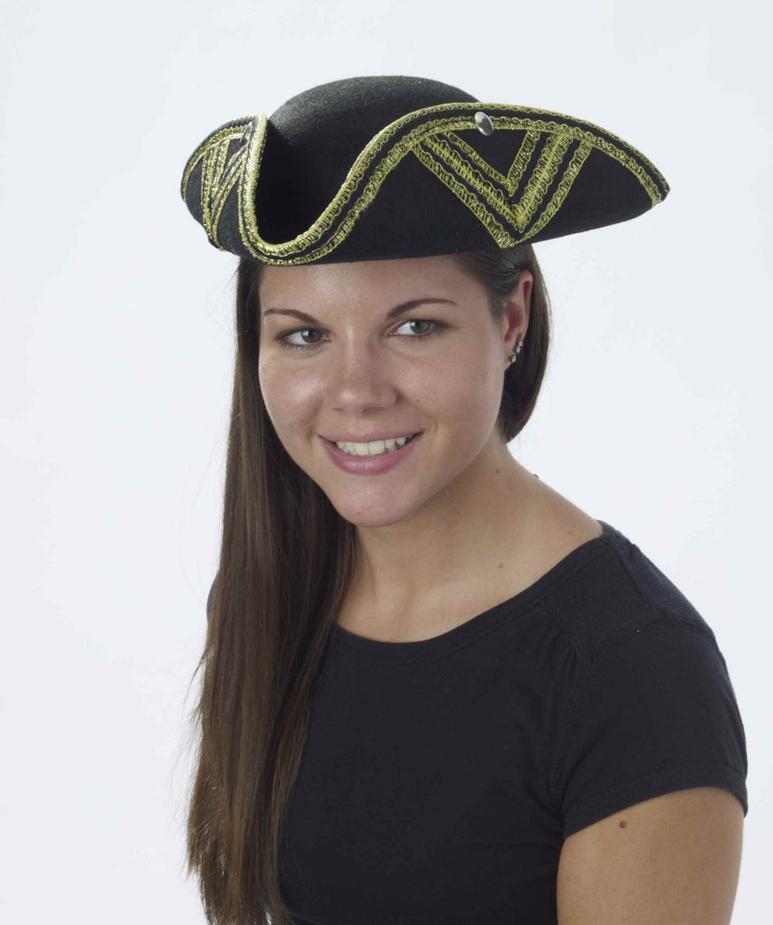 Simple Pirate Hat Black/Gold Value Pirate Hat