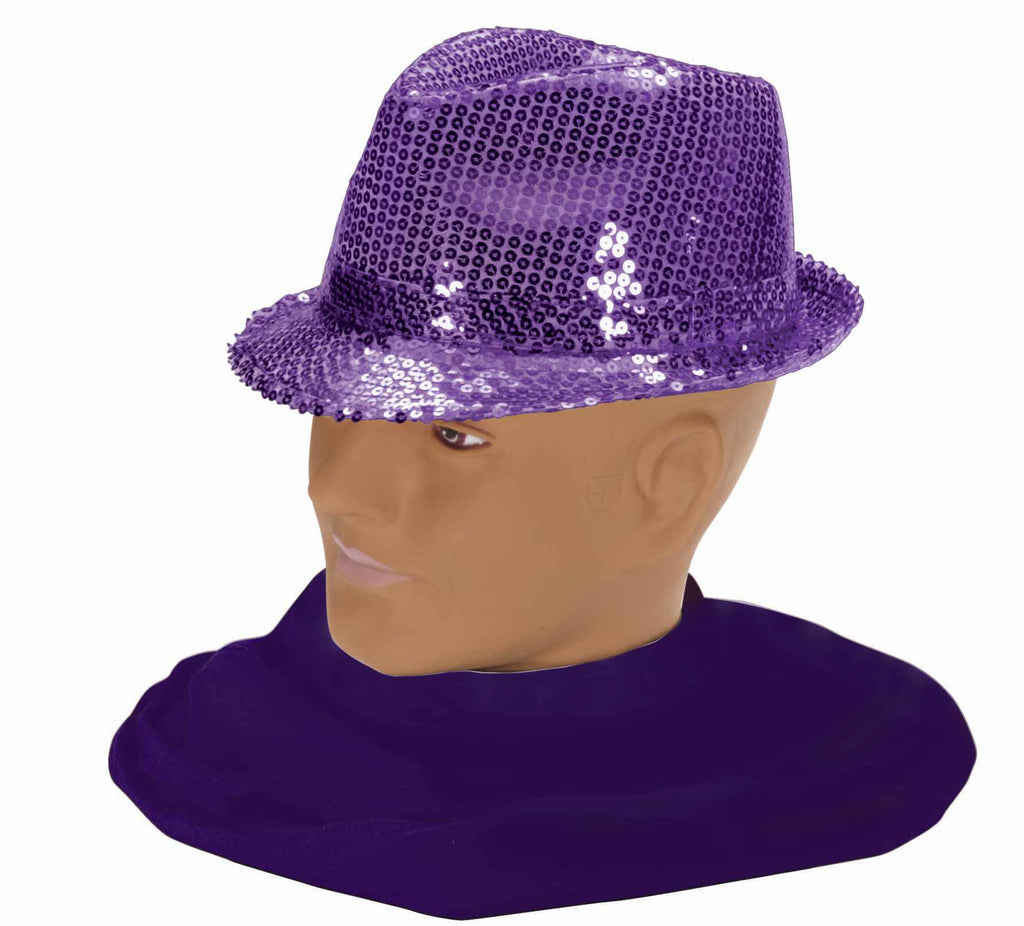 Costume Fedora Purple Sequin Hat